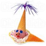 Eisclown lustig dekorierte Kugel Eis